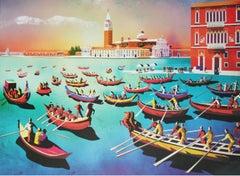 Venice - reggata - XXI Century, Figurative Print, Pop Art, Landscape, Vintage
