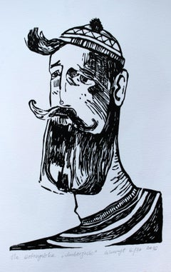 Lumberjack - XXI century, Young artist,Figurative print, Portrait, Black & White
