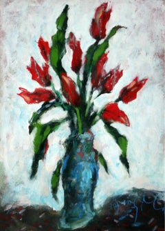 Tulips in a vase - XX Century, Contemporary Oil Painting, Flowers, Still life