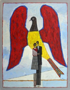 Untitled - XXI century, Contemporary Oil Painting, Figurative, Couple, Bird
