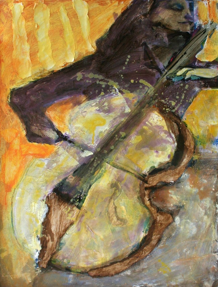 Anna Masiul-Gozdecka Landscape Painting - Cellist - XXI Century, Contemporary Figurative Oil Painting, Yellow, Music