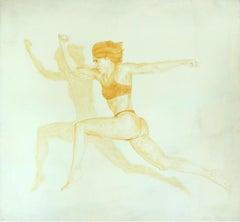 Race againts a shadow - XXI Century Figurative Oil Painting, Monochromatic