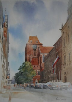 Zeglarska street in Torun - Contemporary Landscape Watercolour Painting, City