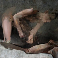 A bed - XXI Century, Contemporary Figurative Nude Oil Painting, Dark colors