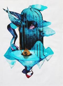Fish - XXI Century, Figurative Watercolor Painting, Fantasy, Blue colors
