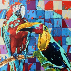 Toucan and parrot - Figurative Oil painting, Animals, Colorful, Vibrant, Pop art