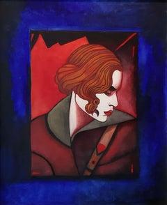 A woman - XXI Century, Figurative Oil Painting, Portrait, Vibrant colors
