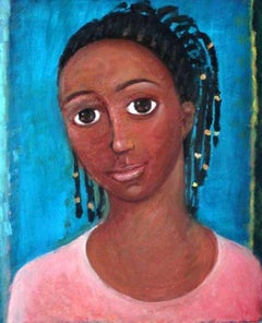 Girl with braids - XXI century, Oil figurative painting, Portrait, Bright colors