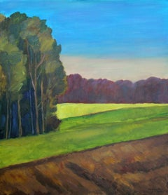 Autumn silence - XXI century, Oil landscape painting, Colourful