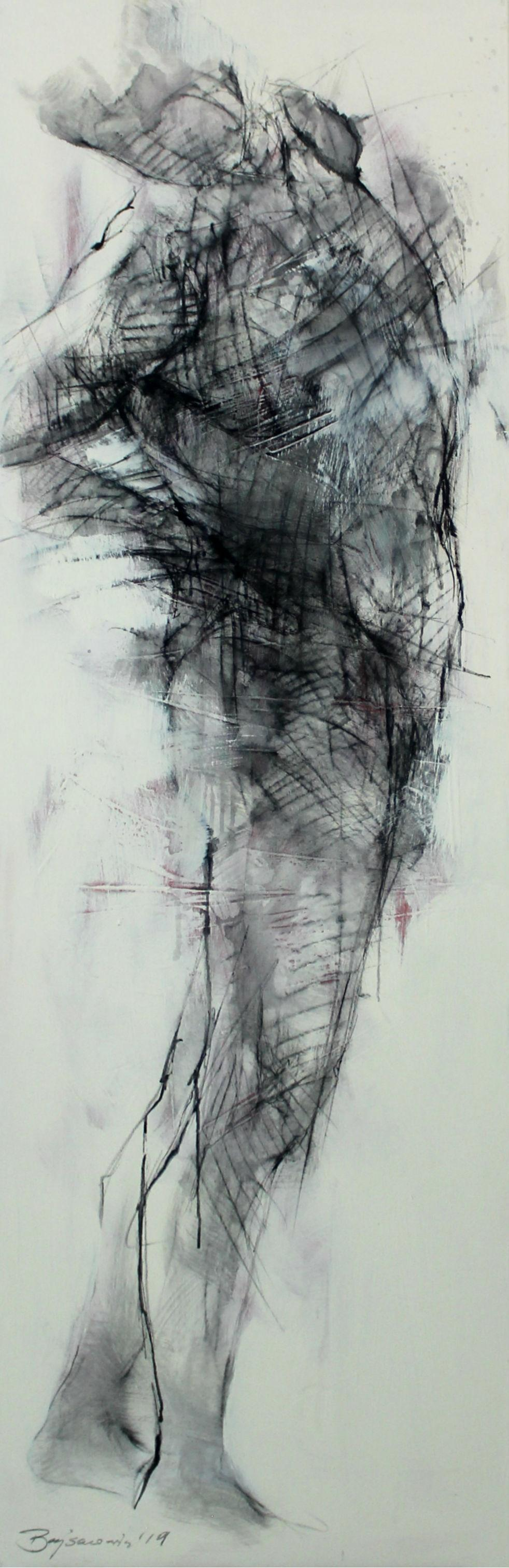 Nude - XXI Century, Contemporary Oil Painting, Black and White, Figurative