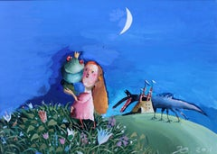 Enchanted frog - Gouache figurative drawing, Colourful, Fairy tale, Fantasy