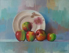 Still life, a plate and apples - Contemporary Figurative Oil Painting, Realistic