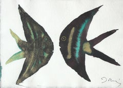 Emerald scalars - Figurative Painting, Fish, Animals, Classics, Art master