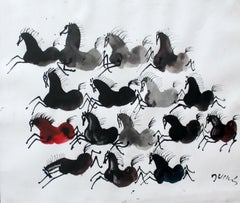 Black arabs - Figurative Gouache Painting, Animals, Horses, Classics Art master