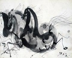 Horses and a dog - Figurative Animal Gouache Painting, Classics Art master