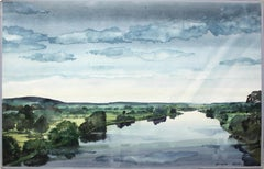 River Narew - Contemporary Watercolor Painting, Blue and Green,  Water Landscape