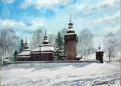 Maciejowa - Contemporary Watercolor Painting, Winter landscape, Realistic
