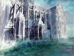 Metz Cathedral - XX century, Watercolor painting, Landscape, Architecture