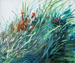 Grass by the shore of Utrata River - Acrylic painting, Landscape, Nature