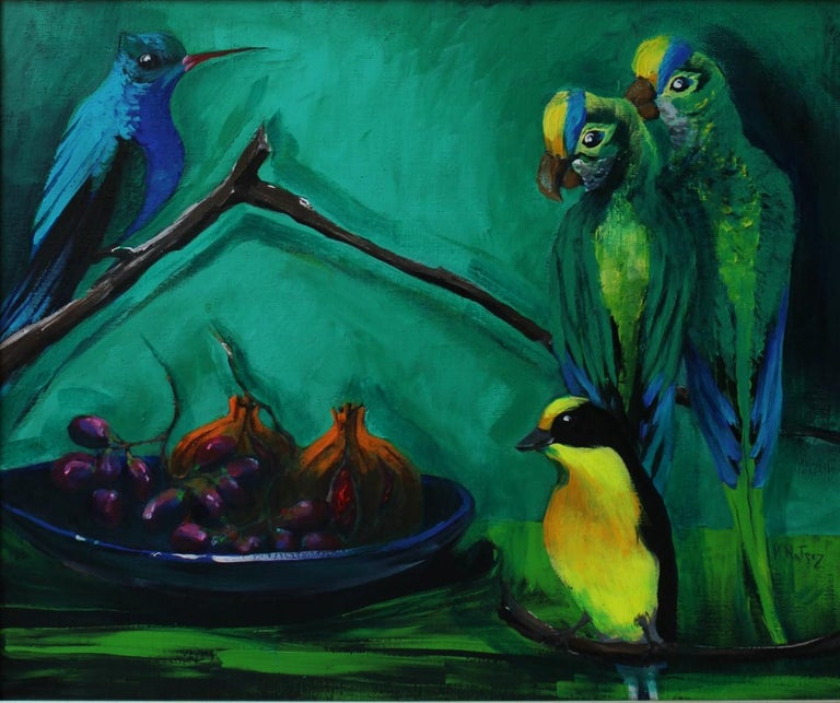 Magdalena Nałęcz Figurative Painting - Gardens of Delight V-XXI century Figurative oil painting Animals Bright colours
