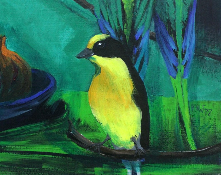 Gardens of Delight V-XXI century Figurative oil painting Animals Bright colours - Painting by Magdalena Nałęcz