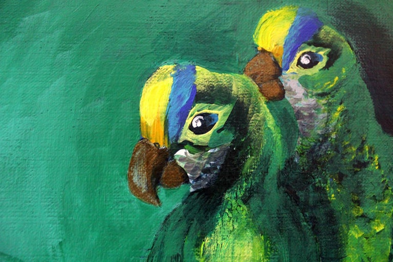 Gardens of Delight V-XXI century Figurative oil painting Animals Bright colours - Blue Figurative Painting by Magdalena Nałęcz