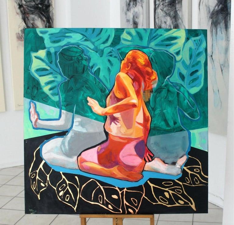 Untitled- XXI century, Figurative Acrylic Painting, Colorful Palette, Dynamic - Blue Figurative Painting by Anna Masiul-Gozdecka