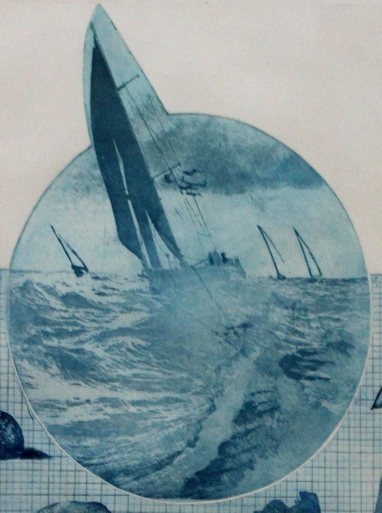 Cruise VII - XX century, Etching figurative print, Sea, Marine motives, Blue - Contemporary Print by Miroslaw Piotrowski