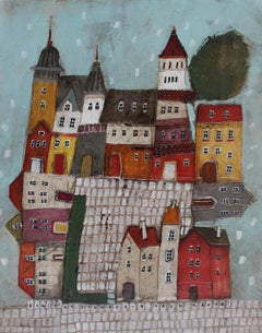Town IV - XXI Century, Contemporary Landscape Acrylic Painting, Architecture
