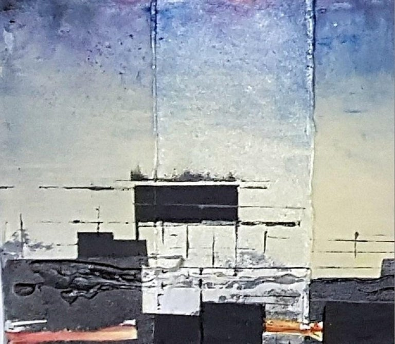 Before a storm - an observation -- XXI century, Acrylic painting, Abstraction - Gray Abstract Painting by Katarzyna Kowalska