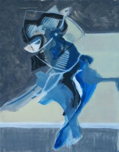 Untitled - Contemporary Abstract Acrylic Painting, Blue & white