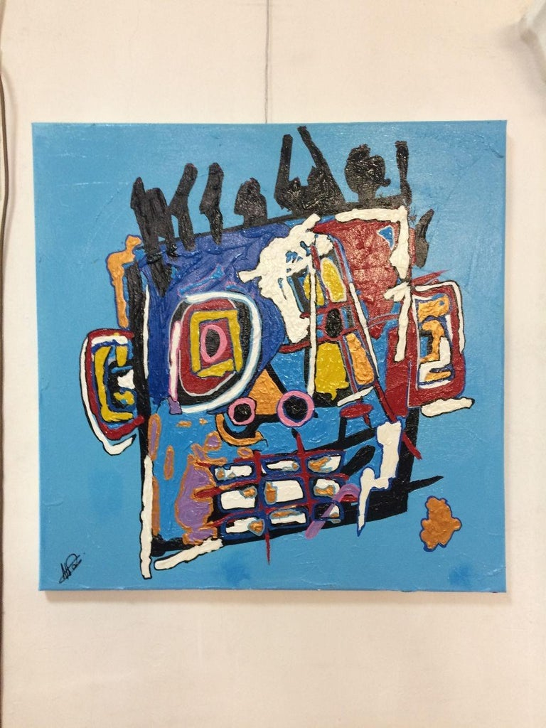 Noggin1 - Acrylic Figurative Painting, Colorful, Vibrant, Glittery, Abstraction 1