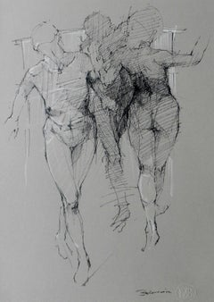 Nude - XXI Century,Contemporary Mixed Media Drawing, Black and White, Figurative