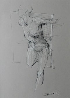 Nude - XXI Century Contemporary Mixed Media Drawing, Black and White, Figurative