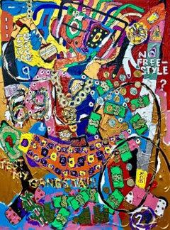 Tekashi69 -  Contemporary Acrylic Painting, Colroful, Vibrant, Glitter