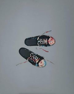 Trainers - Contemporary Figurative Oil Painting, Minimalistic, Fashion