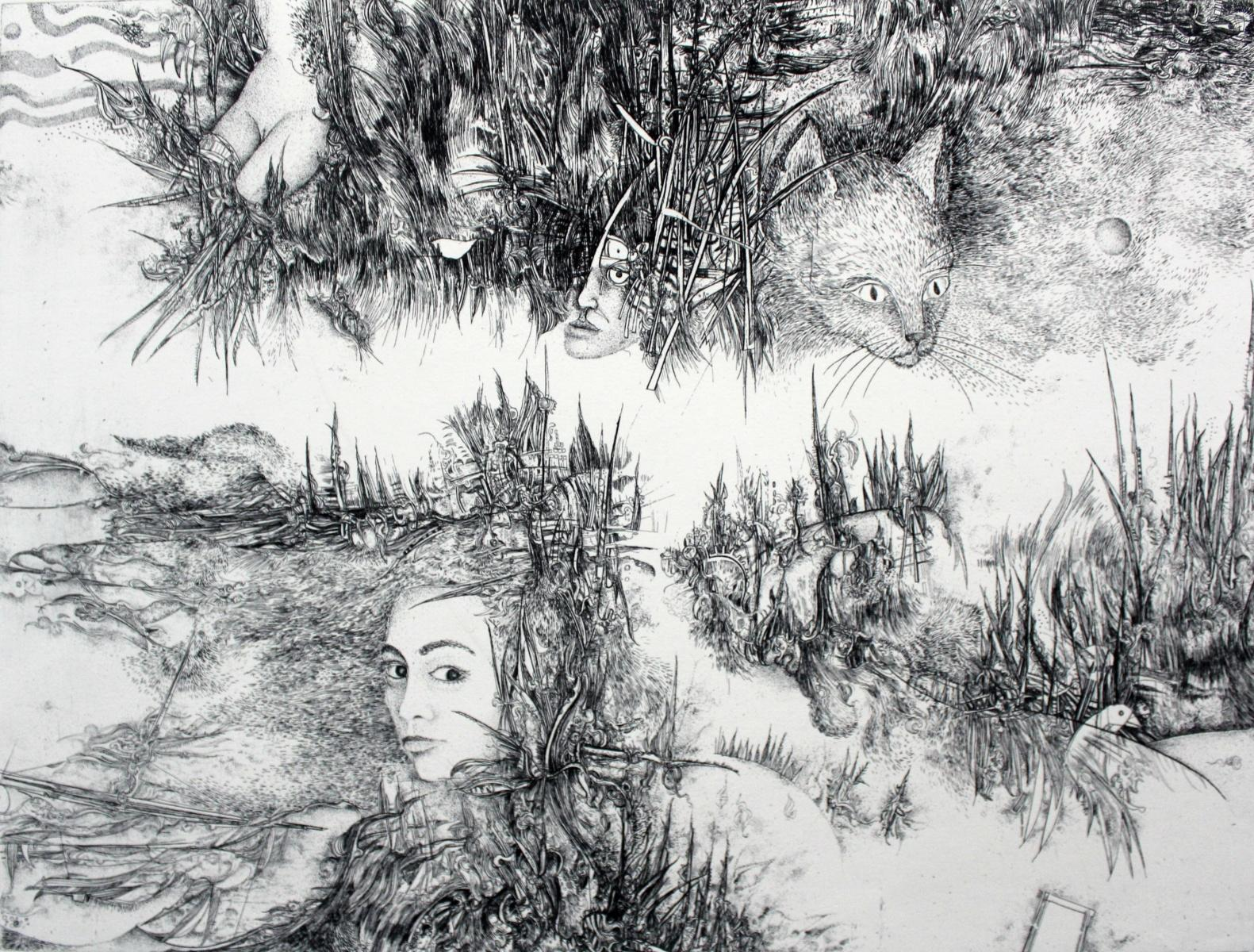 As time goes by - Mixed media print, Figurative etching, Black & White