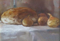 Still life with onions XXI century Oil figurative painting Grey and brown tones