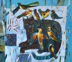 Cat and birds - Contemporary art, Figurative painting, Animals, Colorful