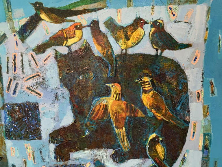 Cat And Birds Contemporary Art Figurative Painting Animals Colorful