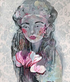 A heart - XXI century, Figurative Acrylic Painting, Female Portrait