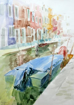 Murano canals - XXI century, Watercolor painting, Landscape, Realist