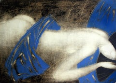 Nude - XXI Century, Contemporary Figurative Monotype Print, Blue & grey