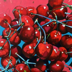 Cherries - XXI Century, Contemporary Figurative Oil Painting Pop Art, Still life