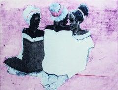 Meet - XXI Century, Contemporary Mixed Technique Figurative Print, Blue & purple