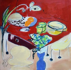 Red table - XX Century Still life, Figurative Oil Painting, Bright Colors