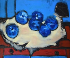 Blue apples - XX Century Still life, Figurative Oil Painting, Bright Colors