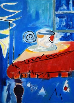 Nocturn with teacup - Still life, Figurative Oil Painting, Bright Colors