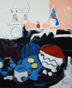 A buffet - XXI Century, Still life, Figurative Oil Painting, Bright Colors
