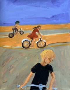 Bicycles - XXI century, Contemporary Figurative Oil Painting, Vibrant Colors